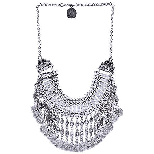 Aaishwarya Antique Silver Bohemian Etched Coin Statement Necklace For Women  Girls f4453054a0