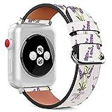 MysticBand Für Apple Watch 40mm / 38mm Armbänder Uhrenarmband Ersatz Lederarmband mit integriertem Armband Adaptors - Lila Lavendel