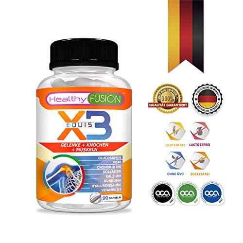 Stark Kurkuma + Hydrolisiertes Kollagen + Chondroitin + Glucosamin - starkes natürliches entzündungshemmendes Mittel - Schützt Muskeln, Gelenke und Knorpel - Entwickelt in Deutschland - 90 K