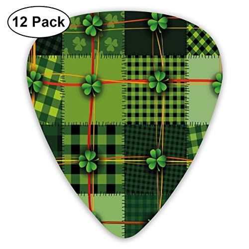 Guitar Picks - Abstract Art Colorful Designs,Patchwork Style St. Patricks Day Themed Celtic Quilt Cultural Checkered With Clovers,Unique Guitar Gift,For Bass Electric & Acoustic Guitars-12 Pack Blue Shell Quilt