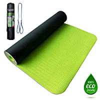 Premium TPE Yoga Mat green 8mm (size 183cm x 61cm) with carrying bag, Anti-slip double layer Eco friendly 100% latex & PVC Free (Chloride Free), gym floor exercise carpet mattress
