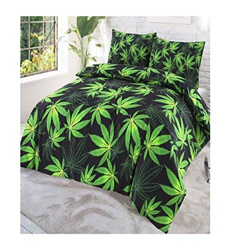 21Fashion Luxuriöse Cannabis Abby Weed Leaf Print Bettwäsche Kissen Fall Set, Cannabis Black Single, Einzelbett-Größe -
