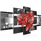 Bilder Blumen Lilien Wandbild Vlies - Leinwand Bild XXL Format Wandbilder Wohnzimmer Wohnung Deko Kunstdrucke Rot 5 Teilig -100% MADE IN GERMANY - Fertig zum Aufhängen 008652c