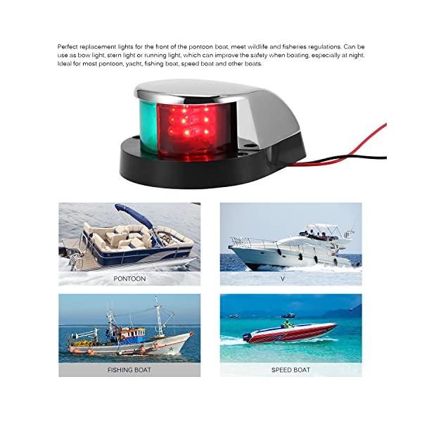 ALLOMN Boat Navigation Light 12V LED Navigation Lamp Red and Green Marine Light for Boat Yacht Stainless Steel Bow… 5