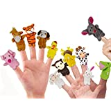 RIY Storytime Animal Finger Puppets Set - 12 Piece Zoo Friends Educational Toys Cloth Puppets