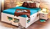 H24living Doppelbett 140x200cm Massivholzbett Seniorenbett Jugendbett Funktionsbett Bett Holzbett Weiss massiv inkl. Lattenrost