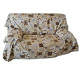 Euronovità Srl Überwurf für Sofa, Bettüberwurf Shabby Chic Herz braun 270 x 280 cm aus Baumwolle Granfoulard 100% Made in Italy PROPRIA EURONOVITÄT
