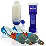 aquabar BLAU+ 2x CO² Zylinder + ummantelte Glasflasche wie Soda Wasser Stream Maxx