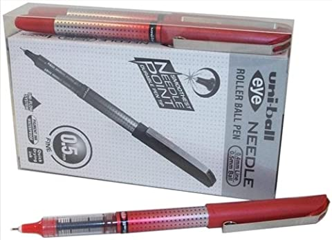 Uni-Ball UB-185S 0.5mm Tip Micro Point Eye Needle Stainless Steel Pen - Red (Pack of 14)