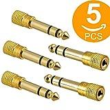 Adaptador jack 6.3 a 3.5,Act Adaptador Convertidor de Audio Estéreo de Jack 3,5 mm Hembra a Jack 6,35 mm Macho (5 unidades)