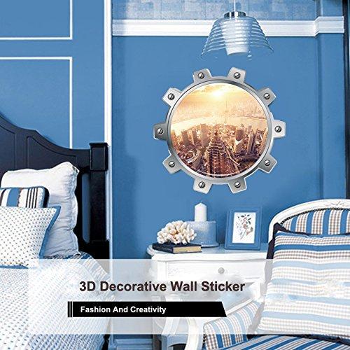 OIKAY Wandaufkleber 3D Stadtbild Wand Dekorative Einfache Und Kreative Abnehmbare Wandaufkleber hausgarten küche zubehör dekorative aufkleber wandbilder