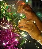 Kette LED Lichterstrang Dekoration von Weihnachten batteriebetrieben to unsichtbar MicroLED und Draht silber für Weihnachtsbaum Krippe Weihnachtsschmuck und Dekorieren das Haus von acquistoweb 5 metri Bianco Ghiaccio