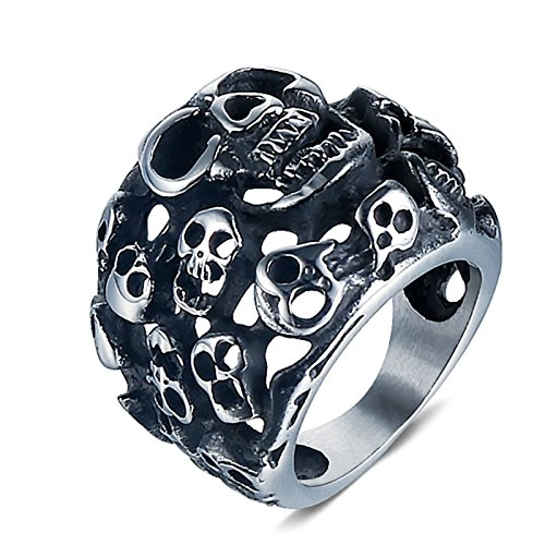Beydodo Titan Ring für Herren Schädel Totenkopf Freundschaftsring Punk Ring Silber Größe 67 - Schädel-ringe-titan