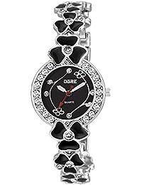 OGRE Women's Round Shape Black Dial Black Silver Wrist Watch LY-21
