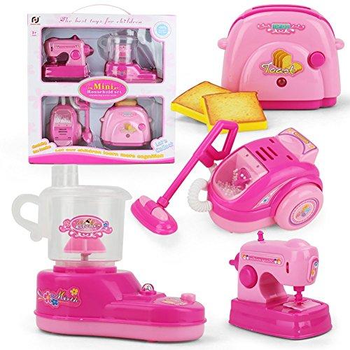 WoBoSen Sortierte Kids Küchengerät Spielzeug mit Entsafter, Nähmaschine, Toaster, Staubsauger, Spielzeug Küchen Sets mit Licht und Ton für Mädchen Jungen (Rosa)