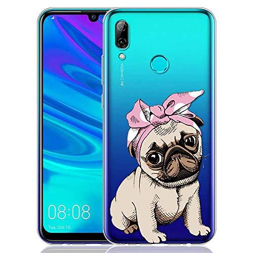 t 2019 Hülle, Silikon TPU Schutzhülle [Slim Stoßfest] Dünn Transparent mit Muster Motiv Handyhülle 360 Bumper Case Cover für Huawei P Smart 2019-6,21 Zoll, Hund ()