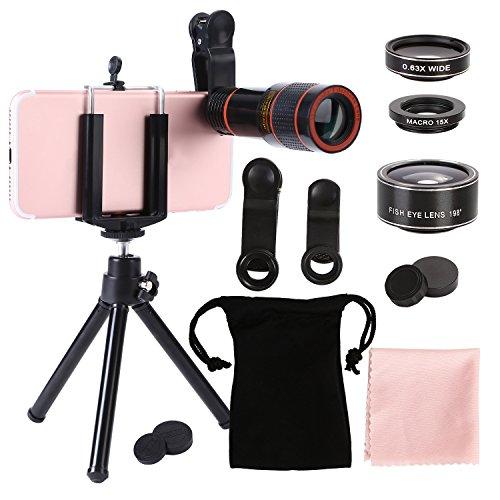 XMTIKO 4 en 1 Lente Kit lentes Cámara Optica, 12 x Zoom Telephoto Focus + Fisheye + Granangular + Lente Macro con Trípode + Soporte General para iPhone, Samsung, LG, HTC & etc. Negro