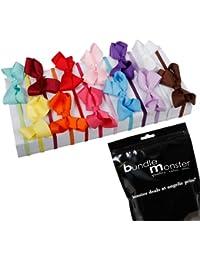 Bundle Monster Ensemble 12 mcx varié Bandeau élastique avec boucle de ruban en satin multicolore pour filles- Pour bambins 0-5 ans
