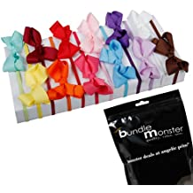 Bundle Monster 12pc Satin Ribbon Bow Hair Elastic Headband Multicolor Mixed Lot for Girls- Fits 0-5 years Toddler