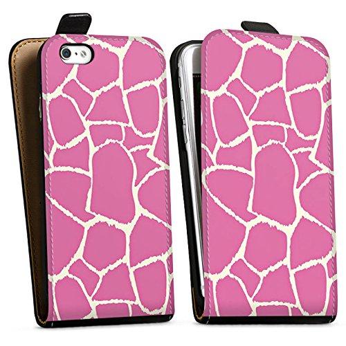 Apple iPhone X Silikon Hülle Case Schutzhülle Giraffe Pink Animal Print Downflip Tasche schwarz