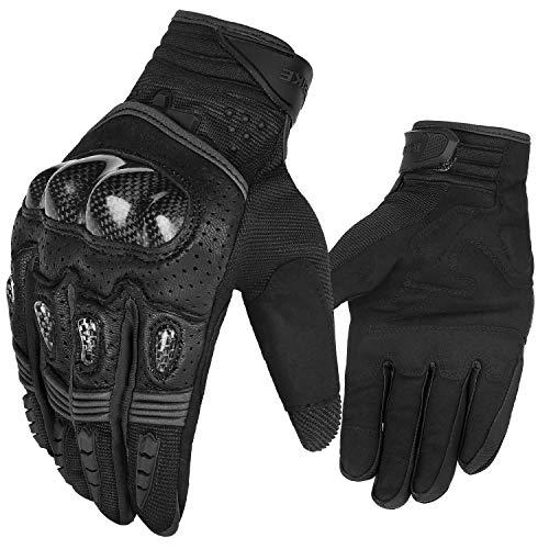 INBIKE Motorrad handschuhe Herren Motorradhandschuhe Touchscreen Atmungsaktivität Hartschalen-Schutz für Motorrad Radfahren Camping Outdoor(Schwarz&Grau,M) IM803