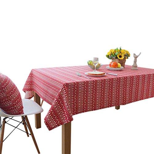 Asvert Mantel de Mesa Algodón 80% + Lino 20% Mixto 140 x 180 Estilo de Navidad para Mesa Rectangular de Comedor Cocina Fiestas Jardín y Bar