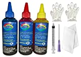GoColor HP Premium High Quality Inket Refill Ink for HP 1112 Tri Cartridge 100 Ml 3 Bottle C/M/Y with syringe needle Gloves & Napkin