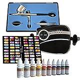 Profi- Airbrush Kompressor Set Carry II mit Nail Farben Set mit Fingernagel Schablonen Set - Kit mit sehr leisem Airbrush Kompressor - Universal-Airbrush-Pistole Double-Action-Gun 130 D 0,3 und Druckluftschlauch
