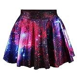UNYU Damen A-Linie Rock Mehrfarbig Multi Einheitsgröße Gr. Einheitsgröße, Red Galaxy
