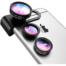 Lenti 3-in-1 per Cellulari VicTsing Clip-On 180 Gradi Premium Fisheye Lente + 0,65X Wide Angle Lente + 10X Macro Micro Camera Kit Lente, per iPhone 7/6S/6 Plus/6/SE/5S/4/4S, iPad Air Mini Pro, Galaxy S7/S7 Edge/S6/S5, Huawei, Xiaomi HTC Sony LG Smartphone (No Circlo Oscuro da lente Fisheye), Nero