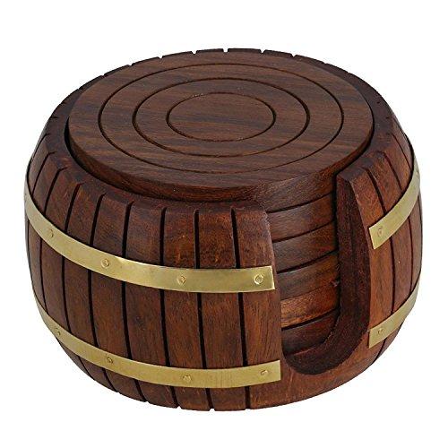 Hölzerne Runde Tee Untersetzer Set 6 in Antike inspiriert Barrel-Halterung Antike Tee
