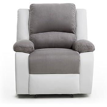 1220a92d0ad3 Usinestreet Fauteuil Relaxation 1 place Microfibre Grise   Simili cuir  Blanc DETENTE