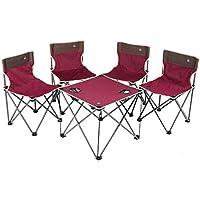 Hehilark Campingmöbel Camping Möbel Set Leichtgewicht Campinggarnitur, Leichtgewichttisch und 4 x Leichtgewichtshocker