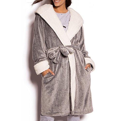 NEW DANCE Damen Pure Color Fleece Lange Robe Winter warme Bademantel Lounge Nachthemd Medium Grau