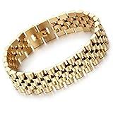 YSM Edelstahl Armband 205mm Link Chain Armband 15mm Breite Gold Concise Vogue Wristband für Männer und Frauen