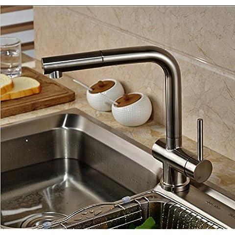 Fx@ Acqua di 2ways nichel spazzolato finito ponte montato in acciaio inox rubinetto girevole Miscelatore da cucina estensibile
