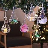 Warmiehomy Packung mit 6 Weihnachtsbaum Kugeln Glühbirne Form hängende Glaskugeln mit weißer Schneeflocke Teelicht Halter Pflanze Vase Container (Durchmesser 10 cm)