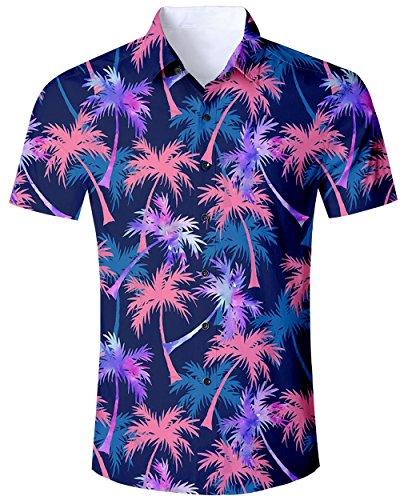 0b42a624d098 Goodstoworld Camisa Hawaiana para Hombre Camisa de Manga Corta Informal  Camisas de Vacaciones 3D Imprimir Camisa