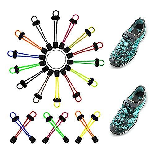 Elastische Lock-Schnürsenkel Keine Krawatte Lazy Shoes Spitze-Plastikfeder-Schnur-Verschluss-Ende Runde Toggle Stopper für Schnürsenkel-Ersatz, Laufen, Wandern, sportlich, Sport, Männer, Frauen, Kinde
