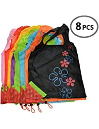 Reusable Shopping Bag,Foldable Tote Eco Grab Bag With Handles,Grocery Shopping Bags (1, 8 PCS Color Mixture )