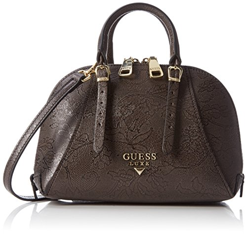 Guess Damen Lady Luxe Mini Dome Satchel Henkeltasche, Nero (Black Multi), Taglia Unica (Leder-satchel Luxe)