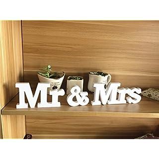 Mr & Mrs Holzbuchstaben Wörter Hochzeit Dekoration Zeremonielle Décor Geschenk für Schlafzimmer, Wohnzimmer, Muttertag, Party (Mr & Mrs, Holz)