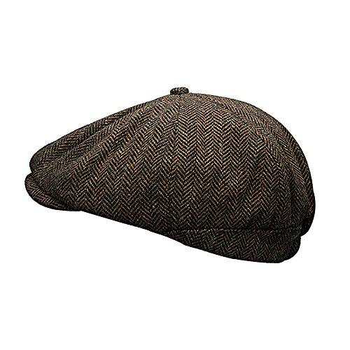 8263f402 Heritage Traditions Womens Men Wool Tweed Pane Peak Newsboy Cap Hat (Brown)