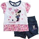 Minnie Mouse Kollektion 2018 T-Shirt und Hose 68 74 80 86 92 Shirt Rock mit eingenähtem Schlüpfer Mädchen Top Maus Set Weiß-Blau (68)