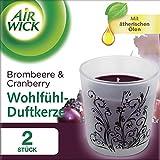 Air Wick Wohlfühl-Duftkerze Duo Brombeere & Cranberry, Duftkerzen im Glas, Kerzenset, 2 Stück