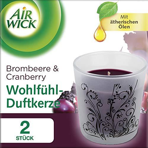 Air Wick Wohlfühl-Duftkerze Duopack Dunkle Brombeere & Cranberry 2 x 105g