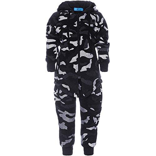 Hose Camouflage Deutsche (Jungen Freizeit Sportanzug Bekleidungspaket Camouflage Hoodie Kinder Hose 21733, Farbe:Schwarz, Größe:128)