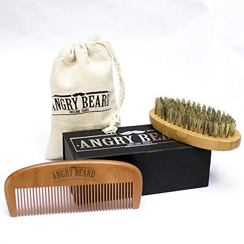 Brosse à barbe pour homme et Ensemble de peigne à barbe - Brosse à barbe et kit de peigne - Brosse de sanglier naturel et peigne à la main en bois de santal pour Toilettage, coiffage et mise en forme avec boîte à barbe et sac