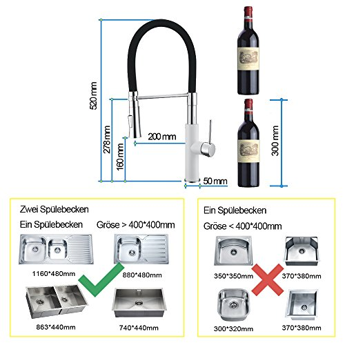 Homelody – Küchenarmatur mit hohem Auslauf, 360° drehbar, herausziehbar, Weiß-Chrom - 2