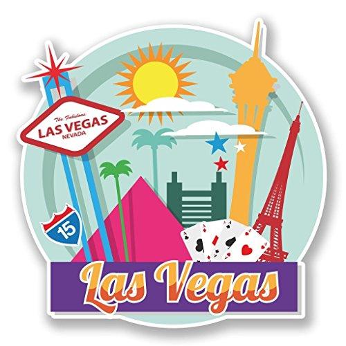 2 x 10cm/100mm In Las Vegas, Nevada USA Vinyl SELBSTKLEBENDE STICKER Aufkleber Laptop reisen Gepäckwagen iPad Zeichen Spaß #6728 (Usa Aufkleber Wandtattoo)
